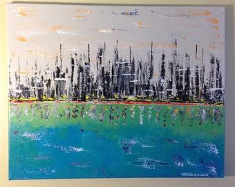 "Mid Century Modern  Skyline City by the Water Abstract - original Acyrlic  Fusion ART on canvas 16"" X 20"""