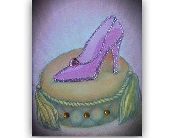Cinderella Shoe, Princess Wall Art, Girl Nursery Decor, Princess Cinderella, Kids Art Decor, Girls room Decor,  Princess Nursery