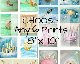 Choose 6 Art Prints 8''x10''of my shop and make your own SET for Children Nursery Decor, Kids Wall Art, Nursery Decor, Art Prints for Kids