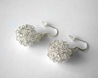 Silver Tangled Knot Wire Ball Earrings with French Style Silver plated ear hook