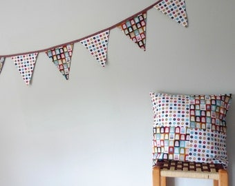 organic cushion bunting set, patchwork cushion, fabric bunting, eco friendly home decor, sewing room decor
