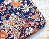 Vintage cotton fabric 3.2 yards in 1 listing brown white navy blue floral boho fabric