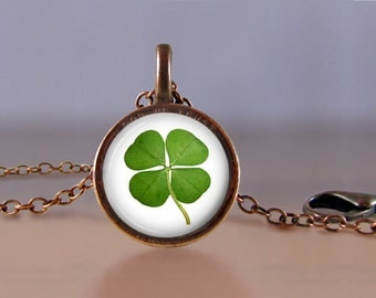 Jewelry - Lucky Penny Necklace - Four Leaf Clover Irish - Choose Chain Length - 1 Cent Jewelry - Charm - Pendant - Penny Jewelry