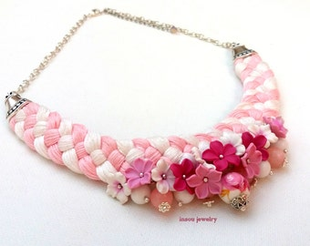 Pink Jewelry, Pink Necklace, Flower Necklace, Braided Necklace, Statement Necklace, Spring Jewelry, Gift For Her, Romantic Gift, Flowers