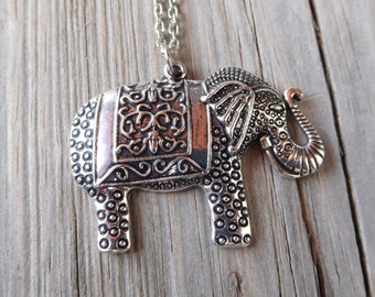 Elephant Silver Pendant Necklace