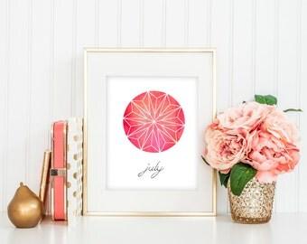 July Gemstone Ruby Watercolor DIY Instant Digital Download Printable Wall Art
