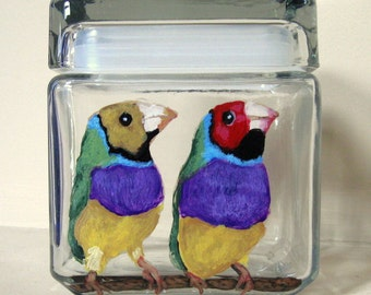 Gouldian Finches, Bird Seed Jar, Tropical Birds, Colorful Feathers, Aviary, Storage Jar, Handpainted Glass, Seed Container, Bird Decor