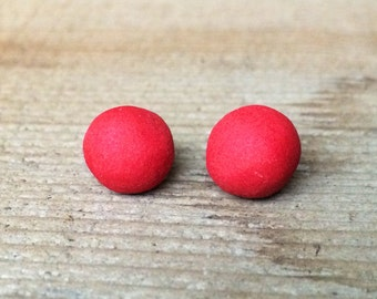 Red Ball Ceramic Stud Earrings