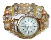 Crystals and More Beaded Watch - Interchangeable Watch - BeadsnTime - Bracelet Watch - Apple Watch Band - Unique Womens Watch - Gift for Her
