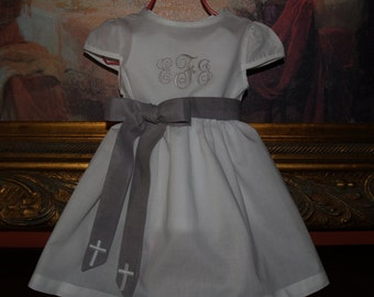 Monogrammed White Cotton Christening Dress