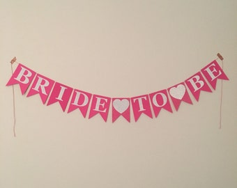Bride-To-Be Hot Pink and Silver Glitter Paper Pennant Banner