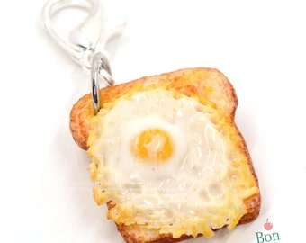 Egg Toast Charm, Miniature Food Charm, Fake Food Jewelry, Egg Necklace, Cell Phone Charm, Miniature Toast, Breakfast Jewelry