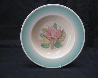 """Vtg Susie COOPER """"PATRICIA ROSE"""" Green Crown Works Burslem Rimmed Soup Bowl"""
