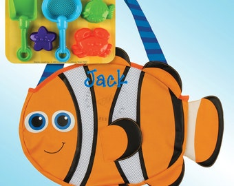 Beach Tote - Personalized and Embroidered - CLOWNFISH