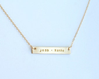Two name gold or silver bar necklace