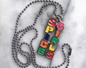 SPICE GIRLS 90s vintage deadstock jewelry • ball chain glossy multicolour pendant 1990 girl power
