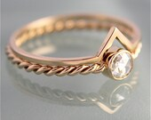 Wedding Set 14k SOLID Gold Rose Cut Moissanite Twisted Rope Infinity Twist Band Chevron Stacking Ring Eco Recycled Yellow or Rose Gold
