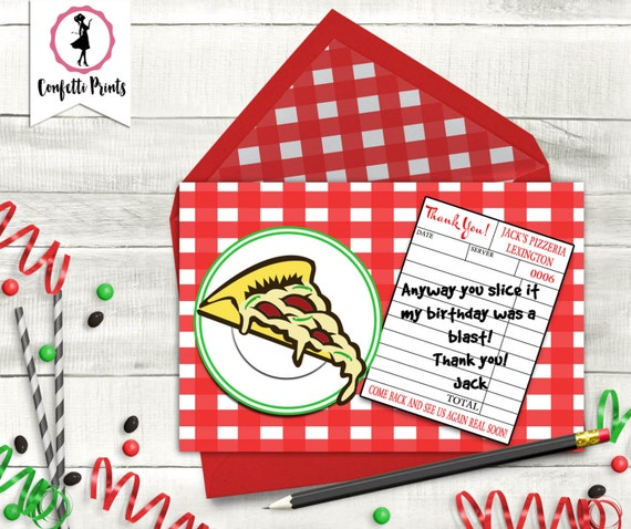 Pizza Birthday Thank You Card | Kids Cooking Party | Pizza Party Thank You Card | Pizza Birthday Party | Printable Thank You Card