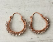 Copper wire wrapped earrings with metallic coated crystals