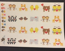 HS Kawaii Couples  Planner Stickers | Any Planner | Valentine | Holiday | Date | Love | Animal | EC | Limelife | Erin Condren | Inkwell |
