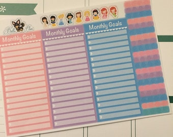 HS Monthly Goals Planner Stickers - Pastels