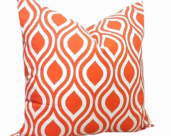 PILLOW, SHAM Cover - Pillow Cover King Queen Euro Reg. 12 16 18 20 22 24 26  Decorative Throw Pillow Nicole Orange Tangelo and White