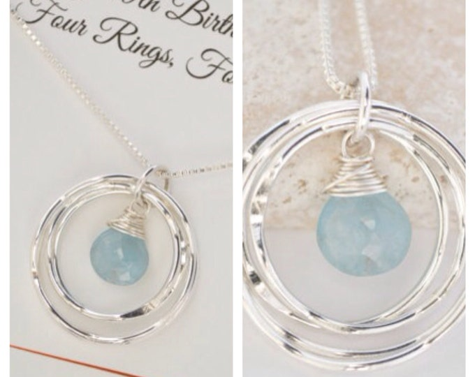 40th Birthday gift for her, 4 sisters gift, 4rd Anniversary gift for wife, Best friend gift,March birthstone necklace,Aquamarine birthstone