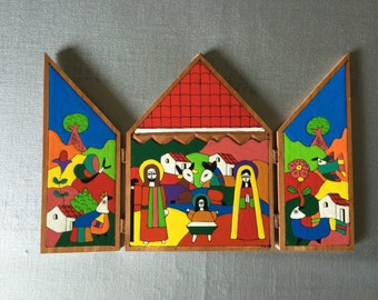 Vintage Salvador Folk Art Nativity, Hand Mad Wooden Retablo with Nativity Scene