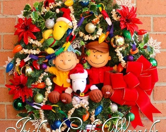 MADE To ORDER Charlie Brown Christmas Wreath, - Only 2 Left - Woodstock, Shepherd Linus, Snoopy, Large Holiday wreath, pre-lit, velvet bow