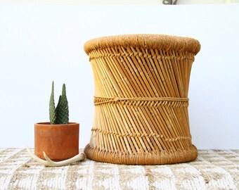 Vintage Woven Rattan Jute Stool Side Table Plant Stand Boho Decor