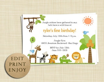 Jungle Zoo Safari Birthday Invitation - EDITABLE PDF - Instant Download -  Printable - Boy