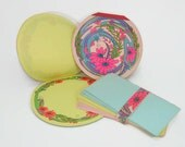 Vintage Round Writing Paper, 2 Pads Stationery in the Round with Matching Envelopes, Floral Note Pads, Pink Paper, Blue Stationery, Yellow