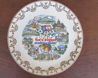Souvenir Plate Vintage Georgia State China Plate