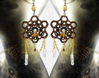 Honeycomb Pattern, Laser Cut earrings, quartz crystal points, gold drop,  Hexagon, natural eco friendly summer jewelry, statement jewellery