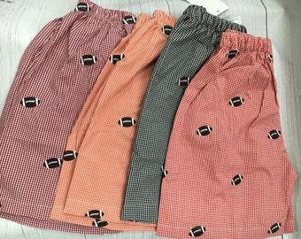 Boys Gingham Shorts, Boys Football shorts, Embroderied Shorts, Fall Shorts,