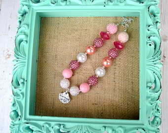 Mermaid chunky necklace, pink silver beaded necklace, pendant necklace, handmade artisan jewelry, beaded necklace