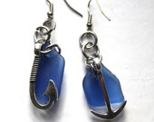 hook and anchor cobalt blue sea glass earrings pendant jewellery beach glass brides maid jewelry