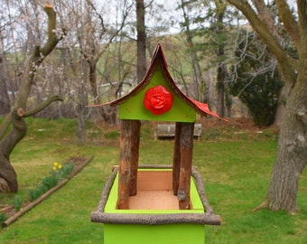 Bird feeder, post mounting bird feeder, rustic bird feeder