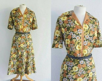 Vintage 1970s Yellow Floral Tea Dress US 18 UK 20 Landgirl Ww2 Swing 30s 40s Style Plus Size