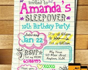 sleepover invitation doodle teen notebook sleepover invitation slumber party invitation pajama party invitation - Sleepover Birthday Party Invitations