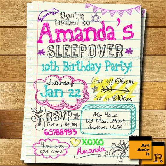 Sleepover Invitation Doodle Teen Notebook Sleepover