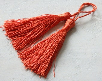 Burnt orange silky tassels - one pair of burnt orange tassels, tassels for malas, jewelry, accessories, orange silky tassels - 2