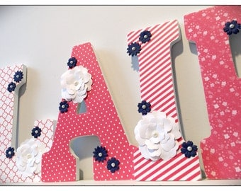 Coral Nursery Letters. Coral. Navy and Coral. Girls Nursery Letters. Nursery decor. Name letters. Flowers. Pink. Nursery. Baby. Wood letters