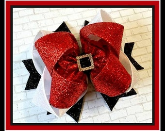 Santa Hair Bow...Christmas Hair Bow...Glitter Hair Bow...Christmas Glitter Hair Bow..Red Glitter Hair Bow...Santa Bow...Christmas Bow