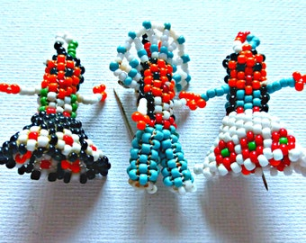 Vintage Southwestern Hand Beaded Indian Chief and Squaw Pendant Pins