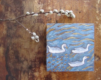 Three White Geese Original Hand Etched Painting on Wood Panel
