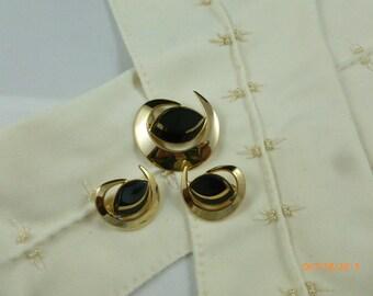 SALE Sarah Coventry Black Saturn 1960's Brooch & Clip On Earrings Vintage