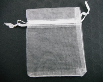 25 Pcs - White Organza Bags 7cm wide x 9cm long BAG009