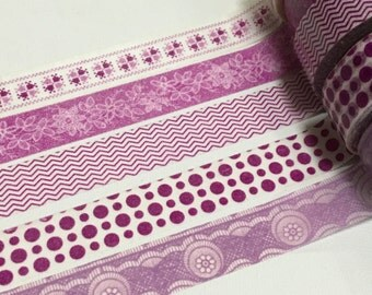Clearance SALE: 5 Roll of Japanese Washi  Tape- Purple Classic Collection