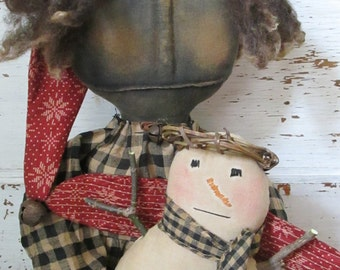 Made to Order~Primitive Grungy Folk Art Sophie and Her Snow Angel Doll Set~Hafair